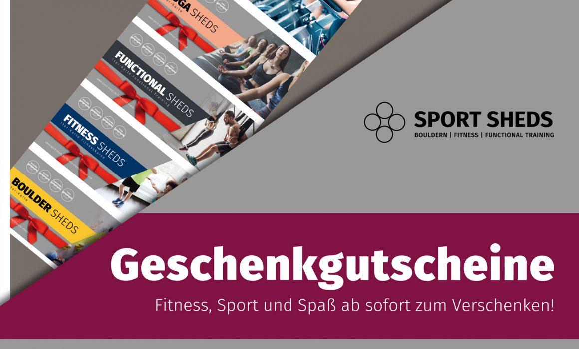 Infoplakat Sport Sheds Geschenkgutscheine